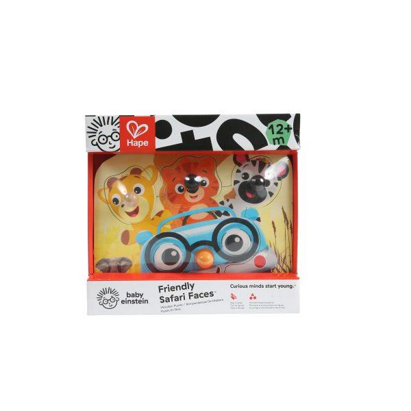 Friendly safari faces puzzle - [uzzel - hout - dieren - houten speelgoed - dn houten tol - de mouthoeve - boekel - baby einstein