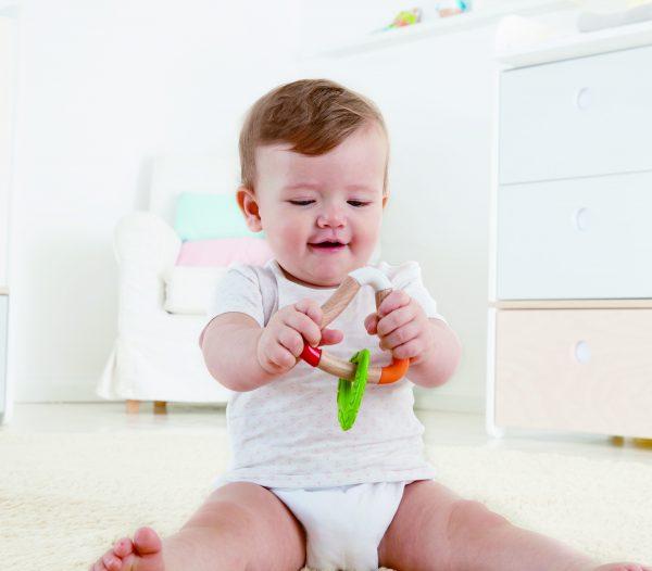 bijtring - rammelaar - speelgoed - houten speelgoed - hout - kunststof - dn houten tol - de mouthoeve - boekel - hape - baby