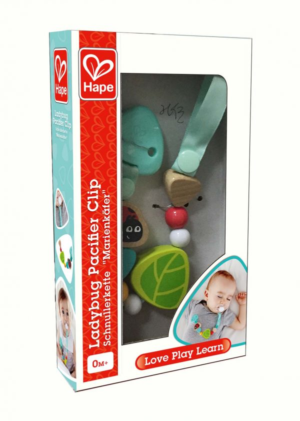 Ladybug pacifer clip - lieveheersbeestje - speen - baby - hout - stof - speelgoed - houten speelgoed - dn houten tol - de mouthoeve - winkel - boekel - hape