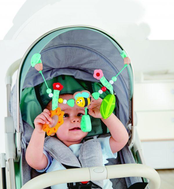 Bumblebee pram chain - kinderwagen - baby - houten speelgoed - bij -speelgoed - dn houten tol - de mouthoeve - winkel - boekel - hape