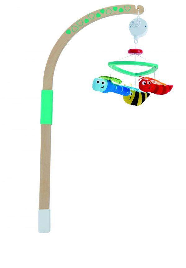 Hommel baby mobiel - hommel - baby - mobiel - stof - hout - houten speelgoed - speelgoed - dn houten tol - de mouthoeve - boekel - hape