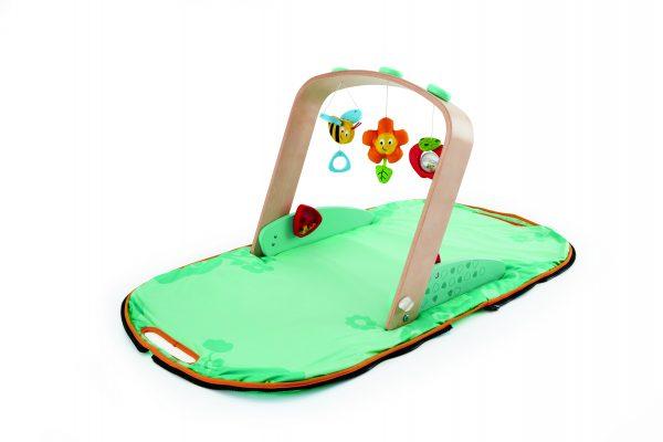 Draagbare baby gym - hommel - baby - draagbaar - speelgoed - houten speelgoed - dn houten tol - de mouthoeve - boekel - hape