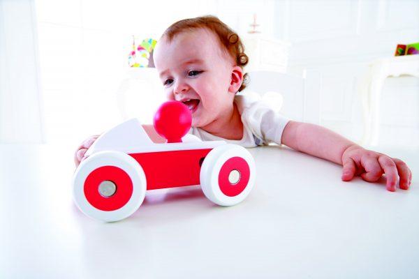 rode racewagen - rood - racewagen - hout - speelgoed - houten speelgoed - dn houten tol - de mouthoeve - boekel - hape - baby - peuter