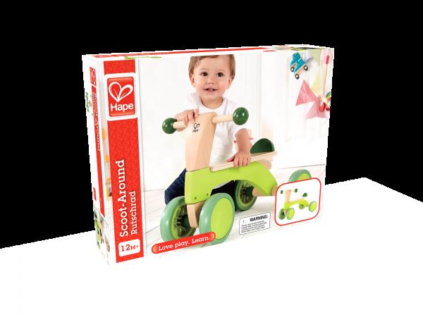Scoot around - loopfiets - loopwagen - speelgoed - houtenspeelgoed - groen - dn houten tol - mouthoeve - hout - boekel - hape