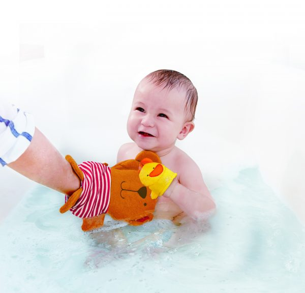 Teddy and Duck Bath Mitt - washandje - katoen - speelgoed - bad - water - buitenspeelgoed - badspeelgoed - dn houten tol - de mouthoeve - boekel - winkel - hape