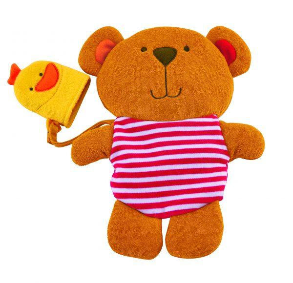 Teddy and Duck Bath Mitt - washandje - katoen - speelgoed - bad - water - buitenspeelgoed - badspeelgoed - dn houten tol - de mouthoeve - boekel - winkel - hape