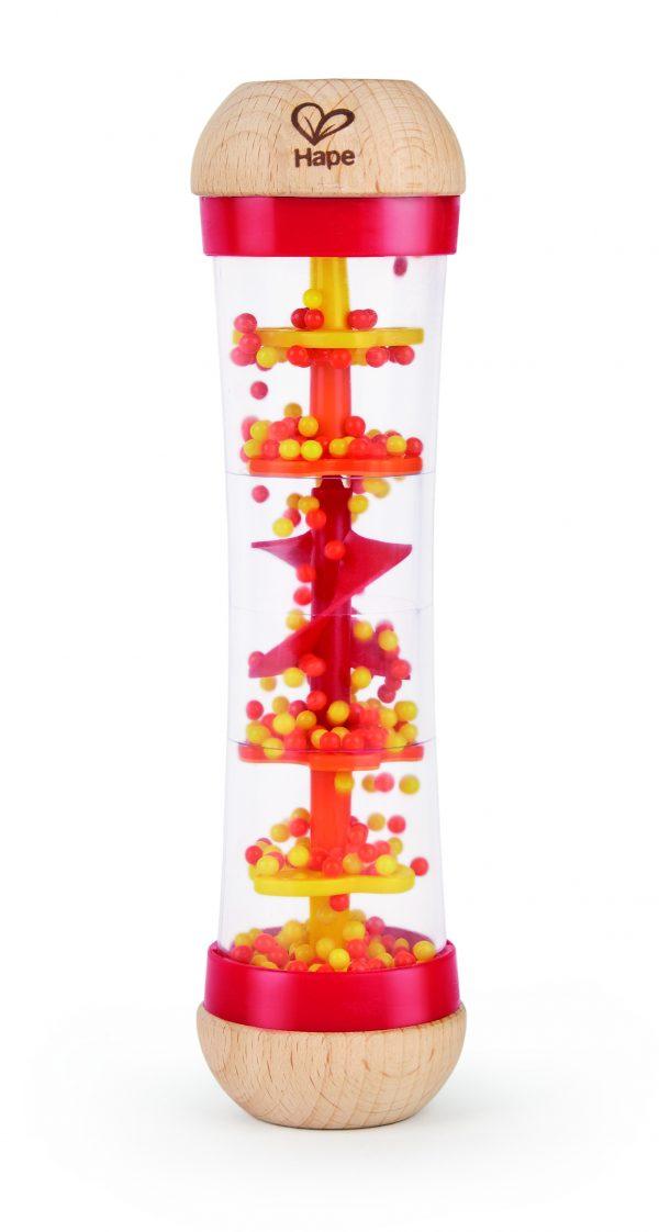 Kralen regendruppels rood - rammelaar - regendruppels - rood - hout - kunststof - dn houten tol - de mouthoeve - boekel - hape - baby - peuter