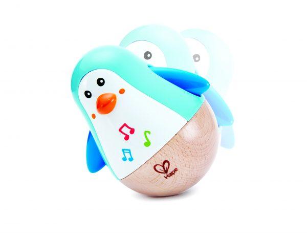 Tuimelaar pinquin - wiebel pinquin - wiebelen - hout - kunststof - tuimelaar - speelgoed - houten speelgoed - dn houten tol - de mouthoeve - boekel - hape - baby - peuter