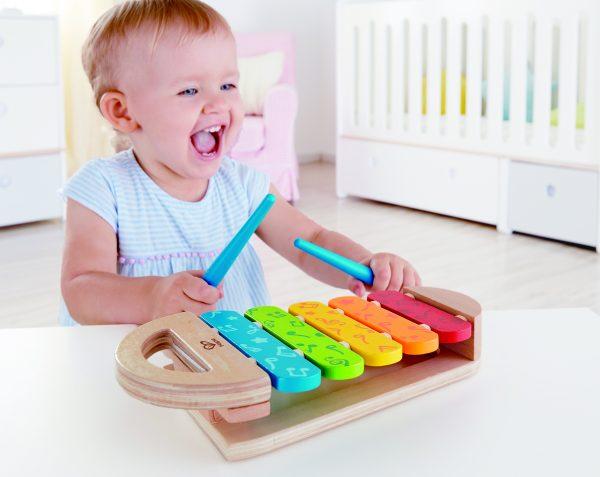 Regenboog xylofoon - regenboog - xylofoon - hout - kleuren - baby - peuter - muziek - dn houten tol - de mouthoeve - boekel - hape
