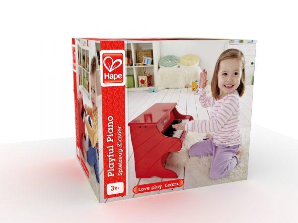 piano rood - piano - hout - muziek - instrument - peuter - kleuter - speelgoed - houten speelgoed - dn houten tol - de mouthoeve - boekel - winkel - hape
