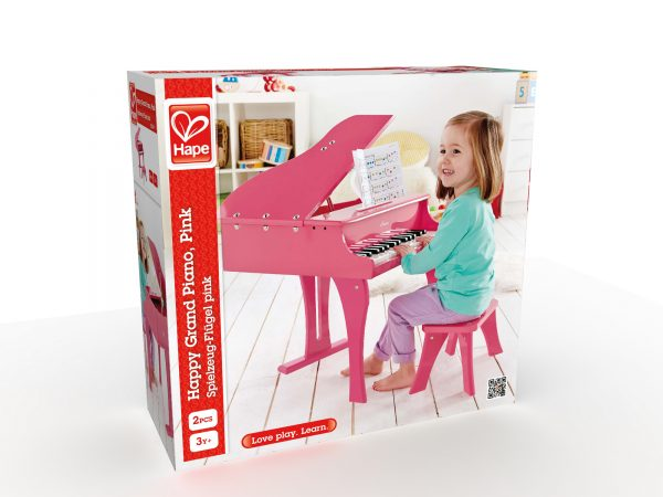 piano - vleugel - vleugel piano - roze - hout - muziek - instrument - speelgoed - houten speelgoed - dn houten tol - de mouthoeve - winkel - boekel - peuter - kleuter - hape