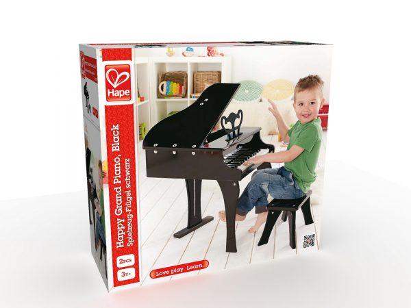 vleugel piano zwart - piano - zwart - hout - instrument - muziek - speelgoed - houten speelgoed - dn houten tol - de mouthoeve - boekel - winkel - peuter - kleuter - hape