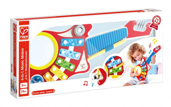 Gitaar - 6-in-1 gitaar - xylofoon - trommel - drum - muziek - hout - speelgoed - houten speelgoed - peuter - kleuter - dn houten tol - de mouthoeve - boekel - winkel - hape
