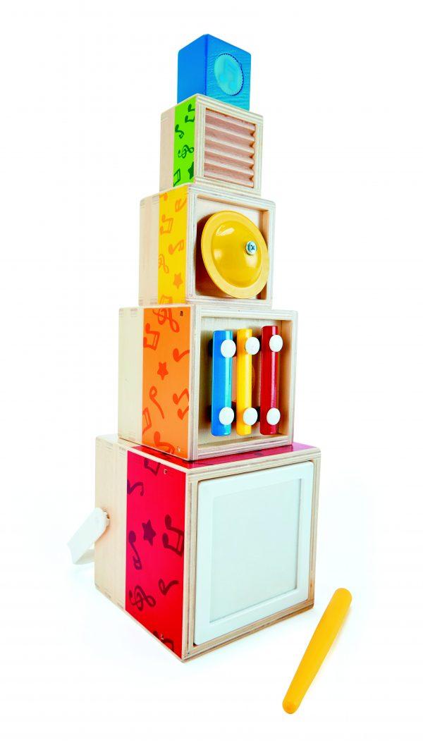 Stapel muziek set - drum - trommel - xylofoon - rasp - hout - baby - peuter - kleuter - hout - stapelen - muziek - speelgoed - houtenspeelgoed - dn houten tol - de mouthoeve - boekel - winkel - hape