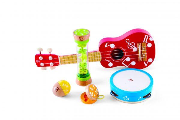 mini band set - ukelele - gitaar - castangette - rammelaar - tamboerijn - muziek - instrumenten - hout - kunststof - dn houten tol - de mouthoeve - boekel - winkel - peuter - kleuter - hape