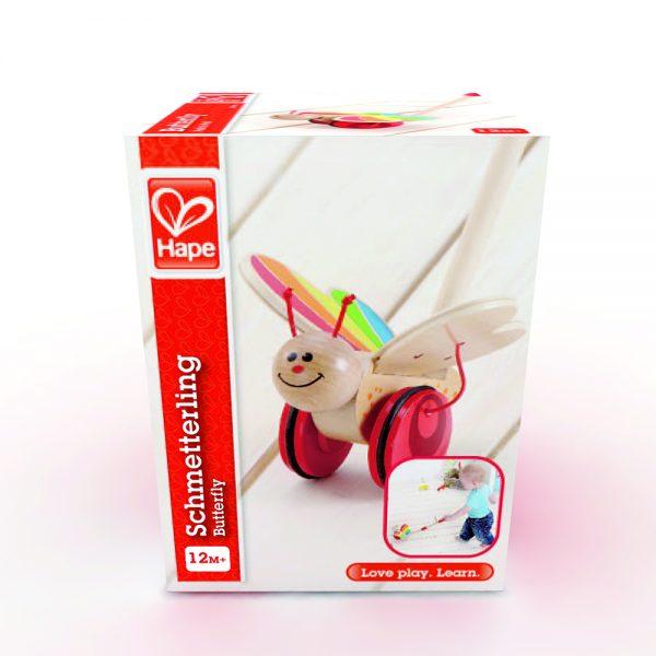 vlinder - vlinder duwstok - hout - speelgoed - houten speelgoed - dn houten tol - de mouthoeve - boekel - hape - winkel
