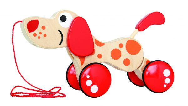 Hond - pepe - hond trekdier - hout - houten speelgoed - dn houten tol - de mouthoeve - boekel - baby - peuter - hape