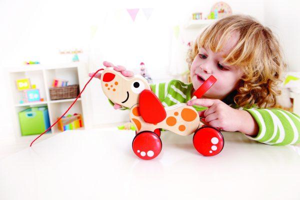 Hond - hond trekdier - hout - houten speelgoed - dn houten tol - de mouthoeve - boekel - baby - peuter - hape