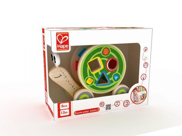slak - slak trekdier - hout - speelgoed - houten speelgoed - baby - peuter - dn houten tol - de mouthoeve - boekel - winkel - hape