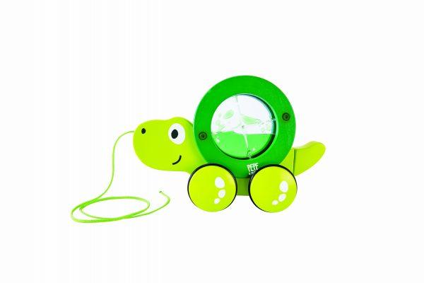 Tito - schildpad - schildpad trekdier - trekdier - hout - baby - peuter - speelgoed - houten speelgoed - dn houten tol - de mouthoeve - boekel - winkel - baby - peuter - hape