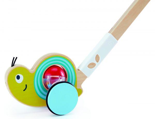 Slak duwstok - slak - speelgoed - hout - houten speelgoed - duwen - dn houten tol - de mouthoeve - winkel -boekel - hape