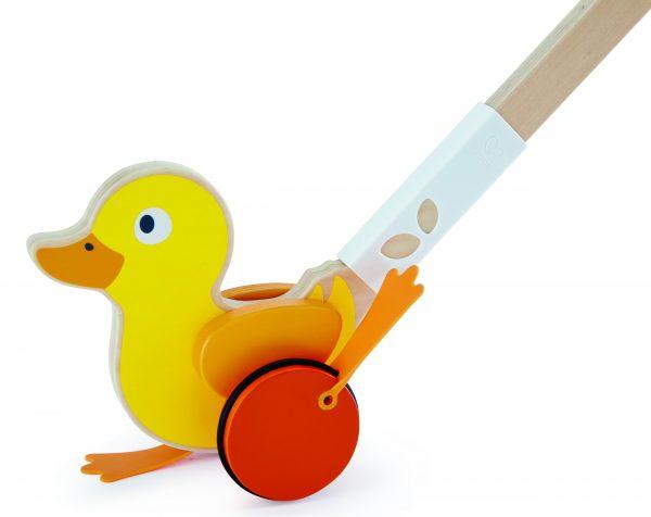 Eenden duwstok - eenden - hout - speelgoed - houten speelgoed - dn houten tol - de mouthoeve - boekel - winkel - hape - geel