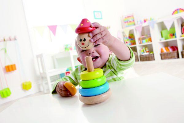 Clown stapelaar - clown - hout - ringen - kleuren - speelgoed - houten speelgoed - dn houten tol - de mouthoeve - boekel - baby - peuter - winkel - hape
