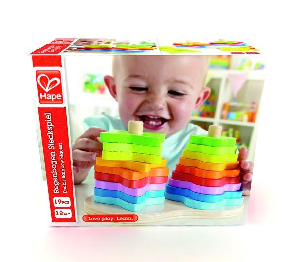 Dubbele regenboog stapelaar - Double reinbow stacker - regenboog - hout - speelgoed - houten speelgoed - dn houten tol - baby - peuter - de mouthoeve - boekel - winkel - hape