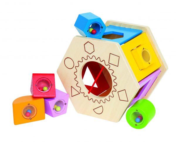 Vormen zeshoek - shake and match shape sorter - hout - speelgoed - houten speelgoed - zeshoek - vormen - baby - peuter - dn houten tol - de mouthoeve - boekel - winkel - hape