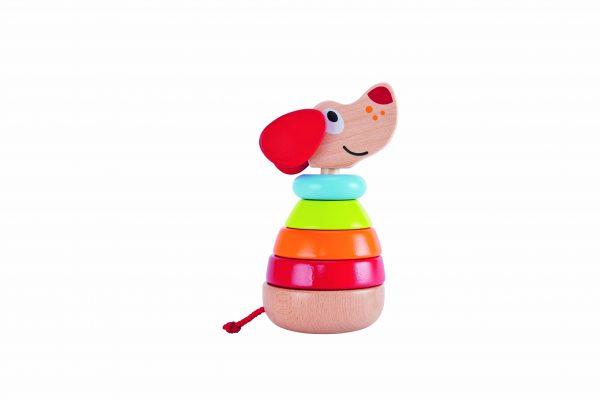 pepe sound stacker - blaffende stapel hond - blaffen - stapelen - hond - kleuren - baby - peuter - speelgoed - houten speelgoed - dn houten tol - de mouthoeve - boekel - winkel - hape
