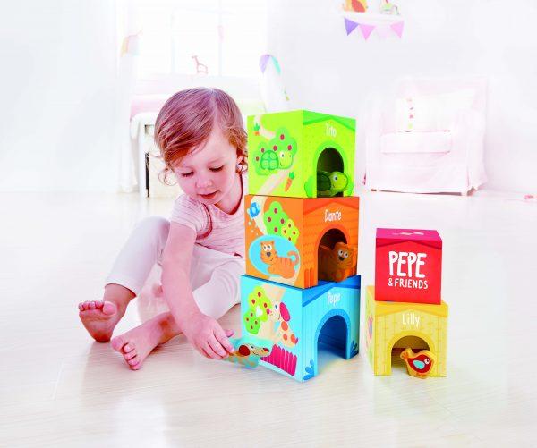 vriendschaps toren - friendship tower - hout - speelgoed - houten speelgoed - baby - peuter - dn houten tol - de mouthoeve - boekel - winkel - hape