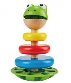 Kikker- kikker ringen - speelgoed - houten speelgoed - peuter - hout - kunststof - dn houten tol - de mouthoeve - boekel - hape - peuter - kleuter
