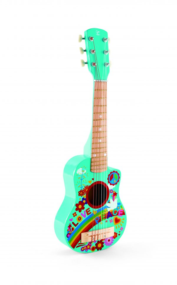 flower power gitaar - gitaar - instrument - hout - muziek - speelgoed - houten speelgoed - dn houten tol - de mouthoeve - winkel - boekel - hape - peuter - kleuter