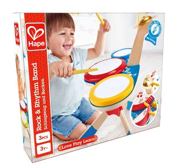 Drum met Bekken - drum - trommel - bekken - muziek - peuter - kleuter - speelgoed - houten speelgoed - dn houten tol - de mouthoeve - boekel - hape