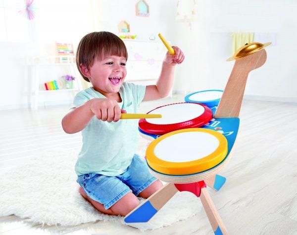 Drum met Bekken - instrument - drum - trommel - bekken - muziek - peuter - kleuter - speelgoed - houten speelgoed - dn houten tol - de mouthoeve - boekel - hape