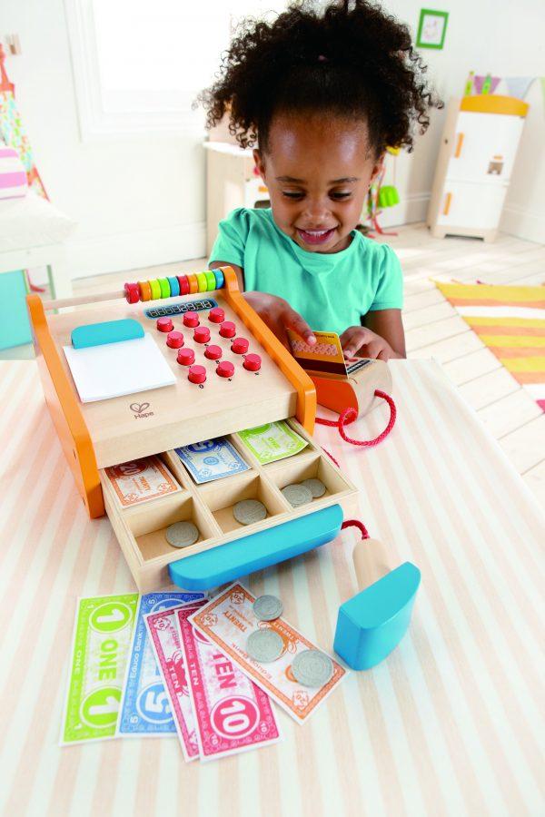 kassa - geld - pinnen - contant - hout - houten speelgoed - speelgoed - dn houten tol - de mouthoeve -boekel - winkel - hape