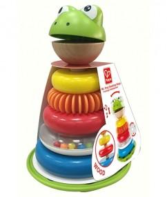 Mr. Frog Stacking rings - meneer kikker stapelaar - kikker - ringen - kunststof - hout - rammelaar - speelgoed - houten speelgoed - dn houten tol - de mouthoeve - boekel - winkel - hape - baby - peuter