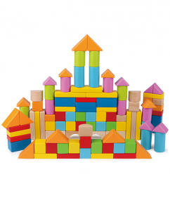 Blokken 100 stuks - Wonderful beech blocks - blokken - hout - baby - peuter - kleuter - speelgoed - houten speelgoed - dn houten tol - de mouthoeve - boekel - winkel - hape