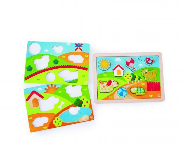 puzzel - zonnevallei 3 in 1 puzzel - sunny valley puzzle 3 in 1 - hout - dn houten tol - de mouthoeve - boekel - winkel - speelgoed - houten speelgoed - hape
