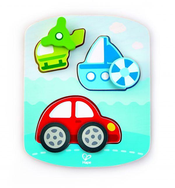 puzzel - baby - peuter- auto - hout - dinamische voertuigen puzzel - dynamic vehicle puzzle - speelgoed - houten speelgoed - dn houten tol - de mouthoeve - boekel - winkel - hape
