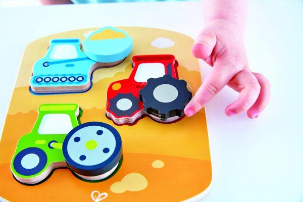 puzzel - hout- bouwvoertuigen puzzel - dynamic construction puzzle - speelgoed - houten speelgoed - houten puzzel - dn houten tol - de mouthoeve - boekel - winkel - baby - peuter - hape