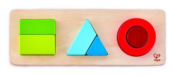 puzzel - hout- geometrie puzzel - geometry puzzle - houten speelgoed - speelgoed - baby - peuter - dn houten tol - de mouthoeve - boekel - winkel - hape- rond - vierkant - driehoek