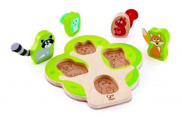 puzzel - hout - houten puzzel - boomdieren puzzel - who's in the tree puzzle - baby - peuter - speelgoed - houten speelgoed - dn houten tol - de mouthoeve - boekel - winkel - hape