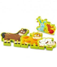 puzzel - nummer boederijdieren puzzel - number & farm animals - hout - speelgoed - houten speelgoed - dn houten tol - de mouthoeve - boekel - winkel - hape