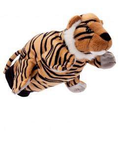 handpuppet tiger - tijger - handpop - pluche - speelgoed - houten speelgoed - dn houten tol - de mouthoeve - boekel - beleduc