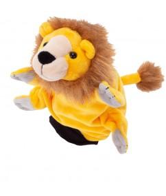 hanpop leeuw - handpuppet lion - pluche - speelgoed - houten speelgoed - peuter - kleuter - dn houten tol - de mouthoeve - boekel - winkel - beleduc