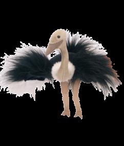 Hanpop struisvogel - struisvogel - handpop - speelgoed - pluche - houten speelgoed - dn houten tol - de mouthoeve - boekel - winkel - beleduc