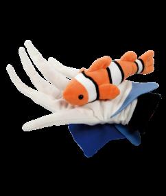 handpop clownvis - vis - handpop - pluche - speelgoed - houten speelgoed - dn houten tol - de mouthoeve - boekel - winkel - beleduc