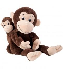 handpoppen cheeta en bibi - handpop moeder en kind - mom & baby handpuppet - pluche - handpop apen - speelgoed - houten speelgoed - dn houten tol - de mouthoeve - boekel - winkel - beleduc