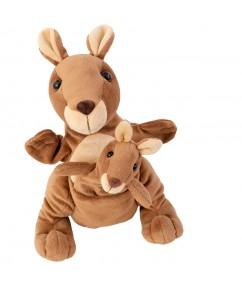 hanpop kagaroe - handpop Kanga & Juju - mom & baby handpuppet - pluche - moeder en kind handpop - speelgoed - houten speelgoed - dn houten tol - de mouthoeve - boekel - winkel - beleduc